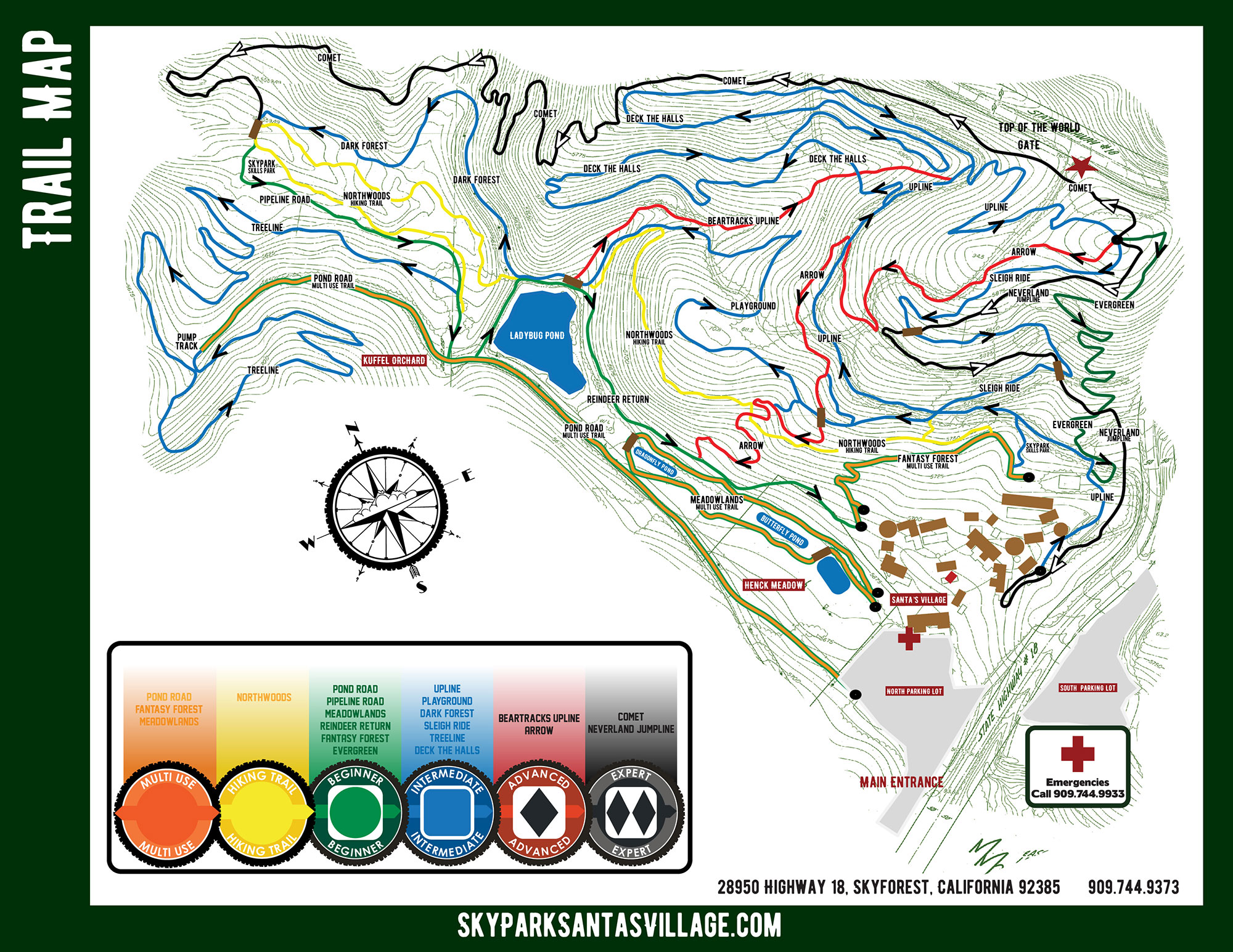 SkyPark Bike Park Trail Map 2018