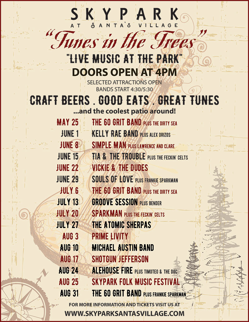 Tunes in the Trees 2018 Concert Series - Live Music in Lake Arrowhead - SkyPark at Santa's Village