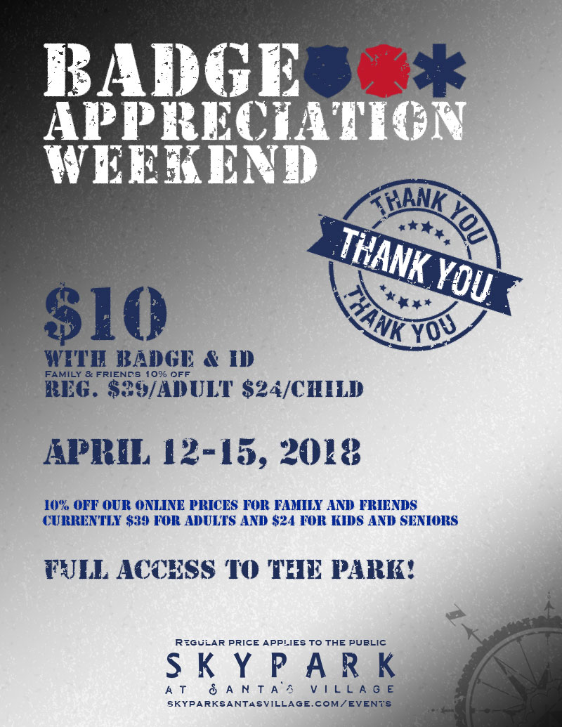 Badge Appreciation Weekend - Things to do in Lake Arrowhead - SkyPark at Santa's Village