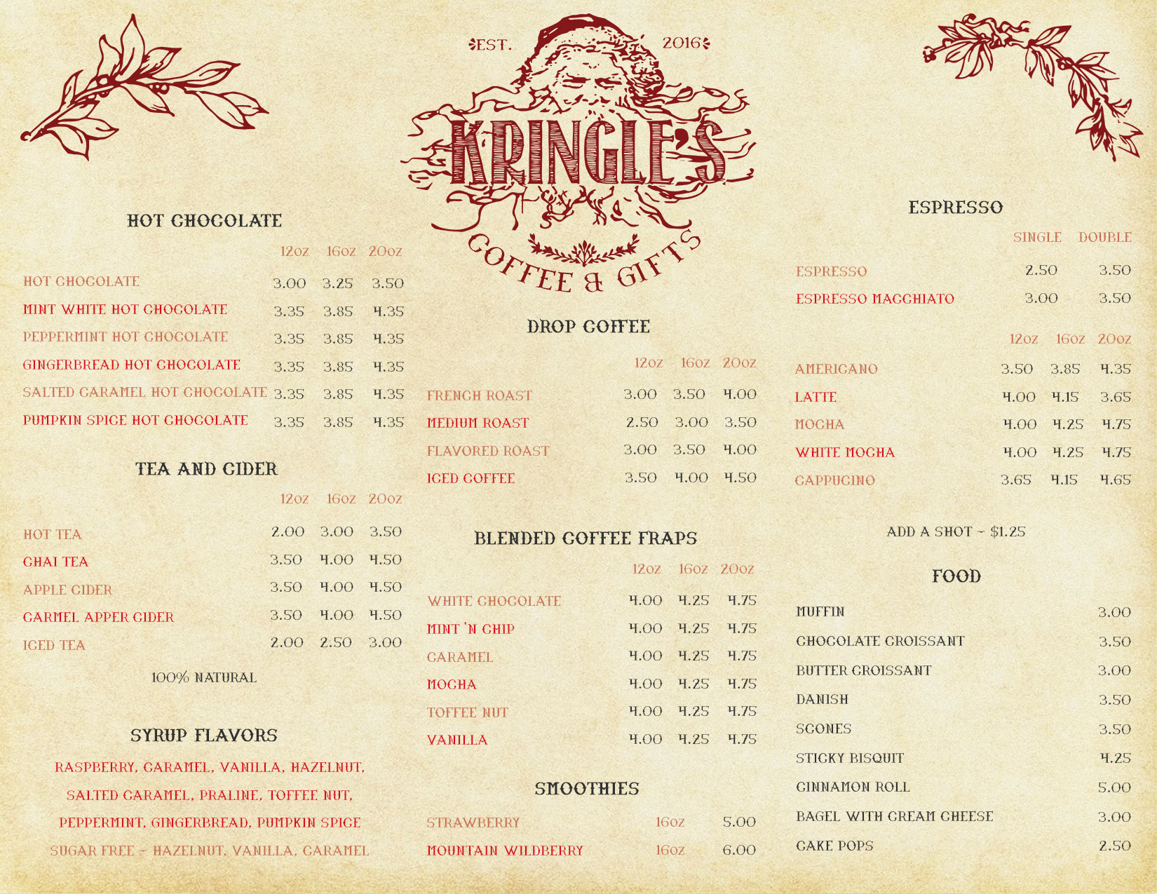 Kringles Coffee & Gifts Menu