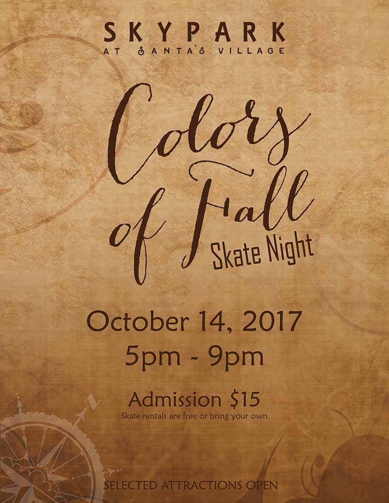 Lake Arrowhead Events - Skate Night - Colors of Fall - SkyPark at Santa's Village