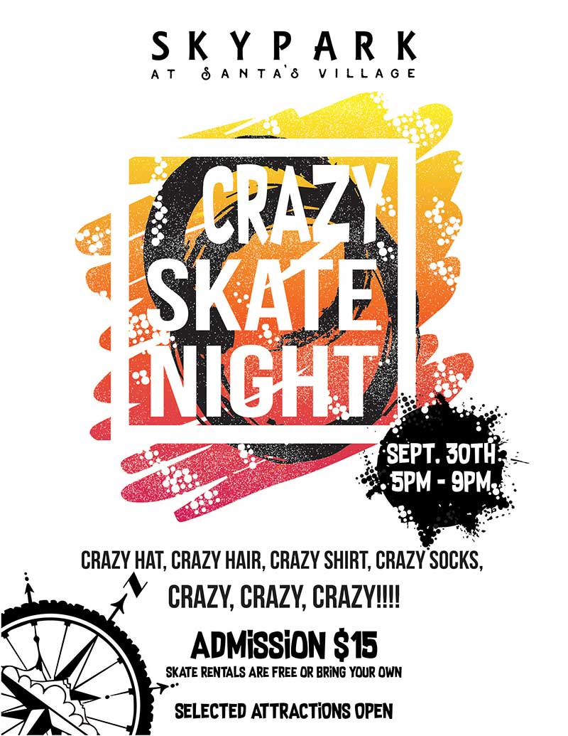 Lake Arrowhead Events - Skate Night - Crazy Skate - SkyPark at Santa's Village