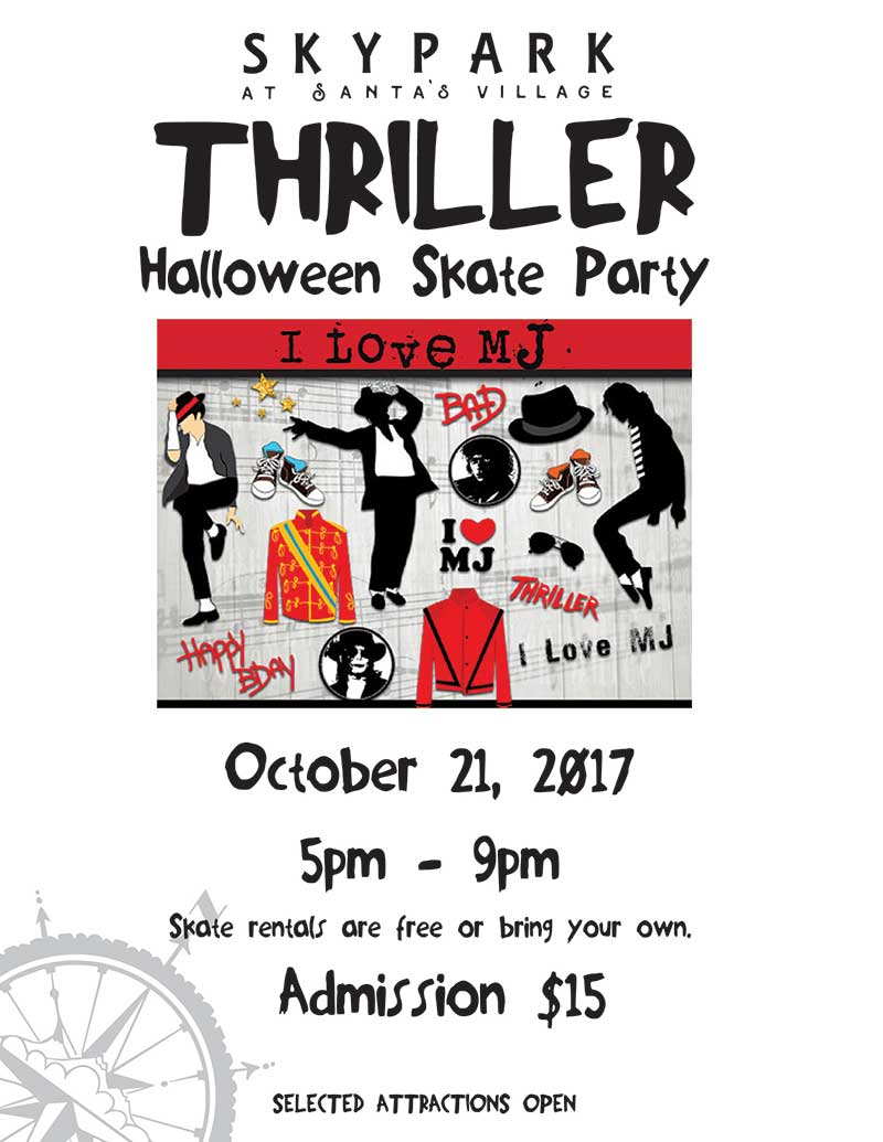 Lake Arrowhead Events - Skate Night - Thriller - SkyPark at Santa's Village
